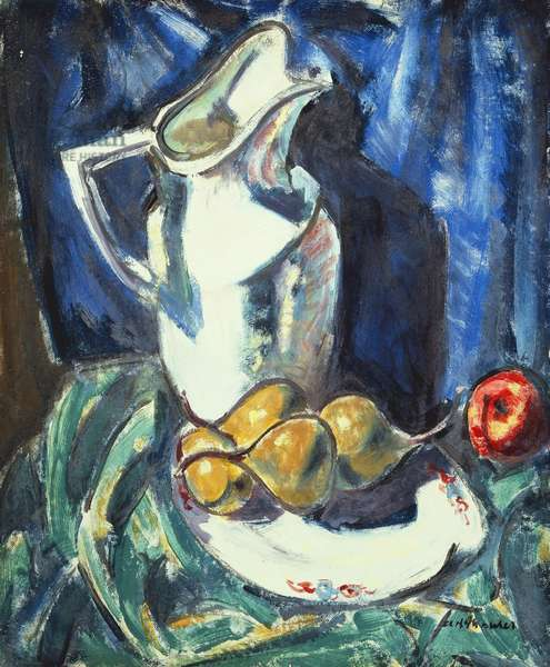 Still Life with White Pitcher and Fruit,  (oil and gouache on board)