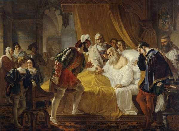 Francis I at the Deathbed of Leonardo da Vinci, 1828 (oil on canvas)