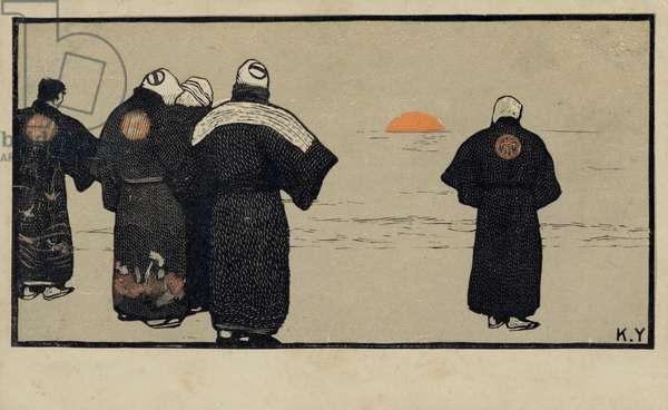Fishermen (coloured engraving)