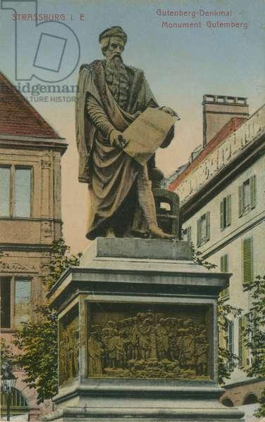 Gutenberg Monument, Strasbourg. Postcard sent in 1913.