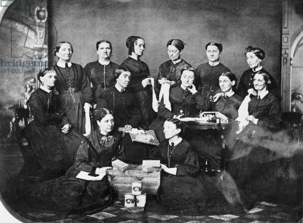 SOLDIERS' AID SOCIETY, 1863 Members of the Soldiers' Aid Society, Springfield, Illinois, c.1863, during the American Civil War.
