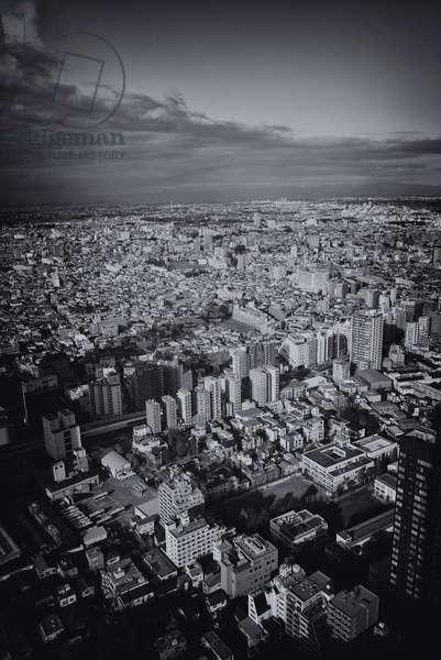 Tokyo Skyline, Japan (b/w photo)