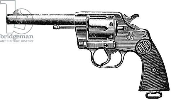 REVOLVER, 19th CENTURY Colt 'New Service' Double Action Revolver. Engraved advertisement from a late 19th century American newspaper.