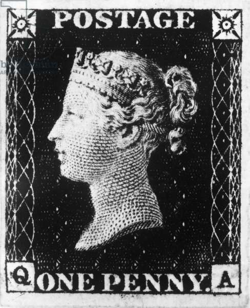 POSTAGE STAMP, 1840 The 'Penny Black' of Great Britain, engraved by Frederick Heath and printed by Perkins Bacon & Co. Issued on 6 May 1840, it was the world's first adhesive postage stamp.