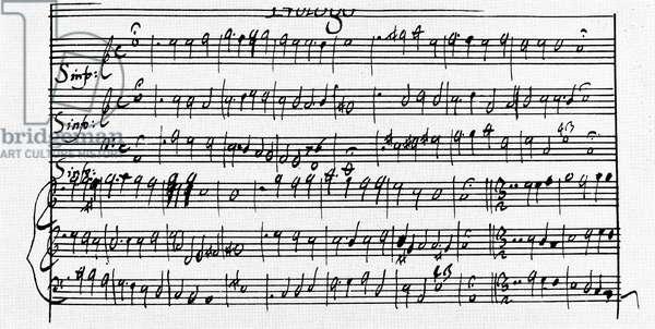 CLAUDIO MONTEVERDI  (1567-1643). Italian composer. Manuscript page, in his own hand, of Claudio Monteverdi's 'L'Incoronazione di Poppea,' 1642.