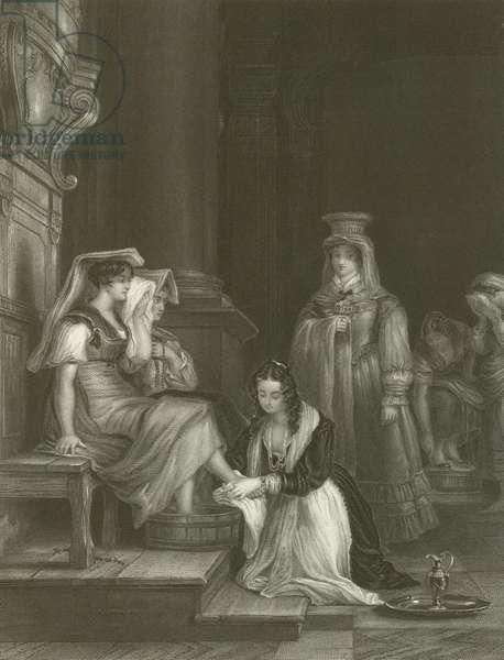 Princess Doria Washing the Pilgrims' Feet (engraving)