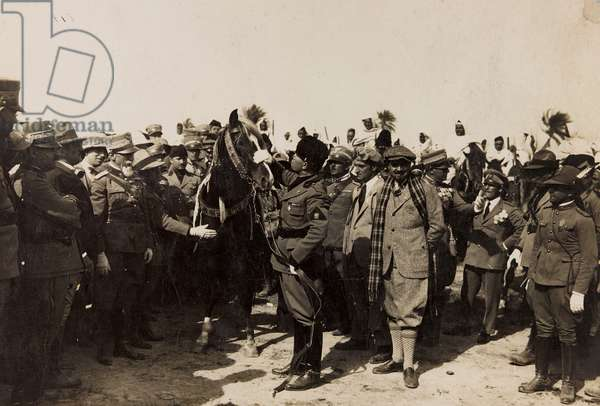 Benito Mussolini with his Fascist and Italo Balbo in Libya in Tripoli (b/w photo)