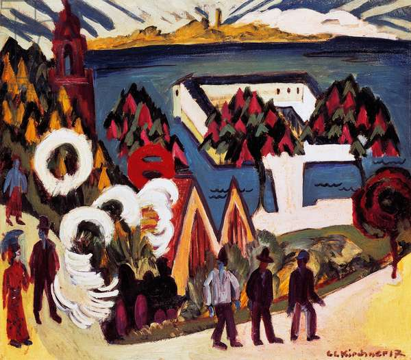View of Lake Constance at Kreuzlingen, 1917, by Ernst Ludwig Kirchner (1880-1938), oil on canvas. Germany, 20th century.