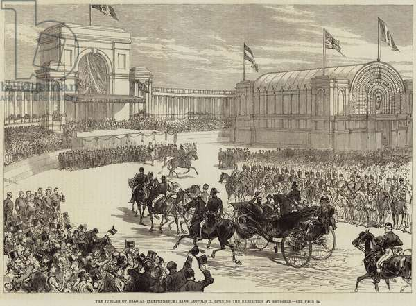 The Jubilee of Belgian Independence, King Leopold II opening the Exhibition at Brussels (engraving)