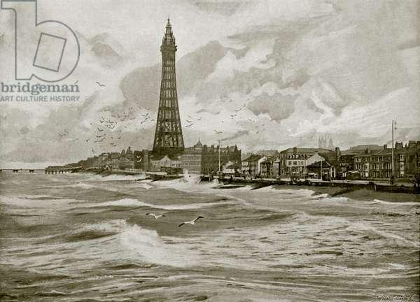 Blackpool, with its Eiffel Tower (b/w photo)