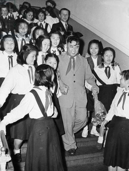 Kim Il Sung of North Korea in Dresden, Gdr with a Group of Young Korean Pioneers, June 10, 1956.