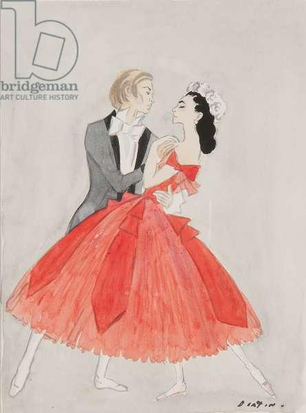 Rudolf Nureyev and Margot Fonteyn (w/c on paper)