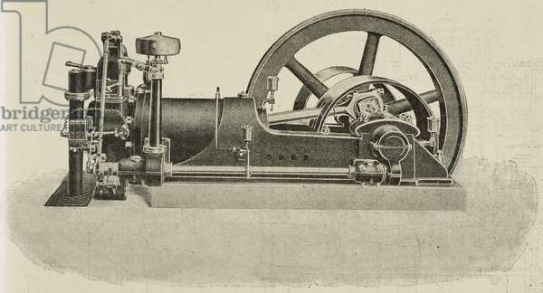 Horizontal 4 stroke engine, powered by gas, produced by A G Bachtold and Cia, Steckborn, Switzerland, illustration from L'Industria, Rivista tecnica ed economica illustrata, Milan, 1908