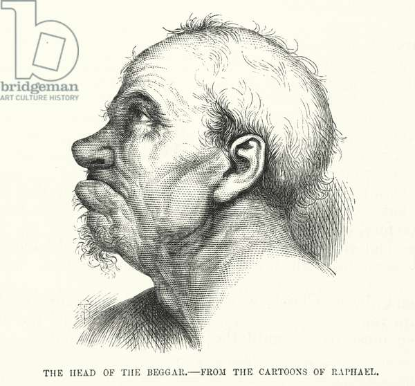 The Head of the Beggar, from the cartoons of Raphael (engraving)
