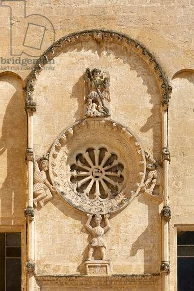 Detail on the facade of the Church of San Domenico, Matera, Italy (photo)