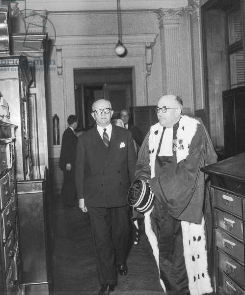 Charles Brune, French Minister of Justice (interim), and Marcel Rousselet, President of the court of appeal, Paris, October 2, 1950 (b/w photo)