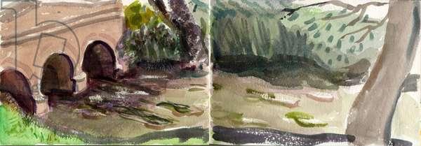 River Windrush, Oxon, 2014 (w/c on paper)