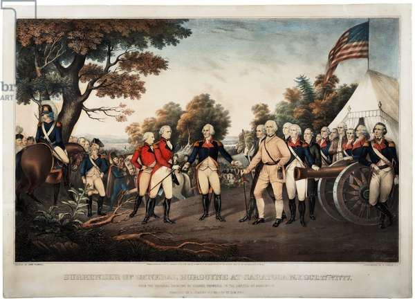 Surrender of General Burgoyne at Saratoga N.Y. Oct 17th 1777 New York, print made by Nathaniel Currier, 1852 (litho)