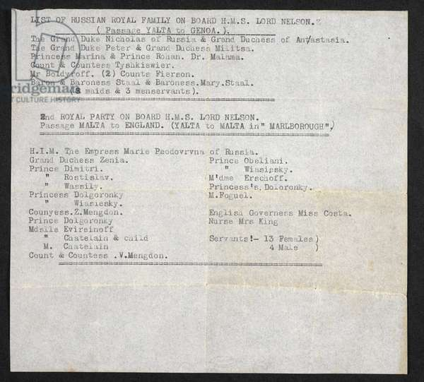 List of Russian Royal Family On Board H.M.S. Lord Nelson and H.M.S. Marlborough, Royal Navy, 1919