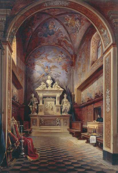 Jacopo Sannazzaro's tomb, by Gabriel Carelli (1820-1900), oil on canvas, 96.5x75 cm.