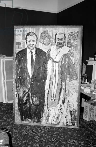 Painting of Lord Lucan. Well known painter and Royal Academician has just completed an usual canvas entitled 'The Runaways'. It is a large double portrait of John Stonehouse and Lord Lucan, who could fairly be described as the most famous pair of runaways of 1974. The mysterious third person, a veiled woman is, the artist says