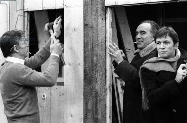 Yves Montand, Michel Piccoli and Umberto Orsini on the set of the film