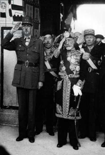 The 1st Anniversary of the Liberation of Tunisia, in the Beylical Palace, May 1944 (b/w photo)