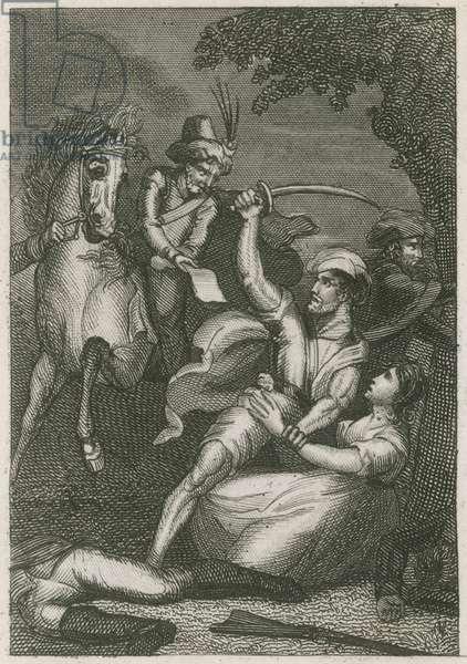 Massacre of the British garrison at Kandy, Ceylon, 1803 (engraving)