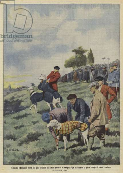 Italian author Gabriele D'Annunzio with his winning dog at a greyhound racing meeting in Paris (colour litho)