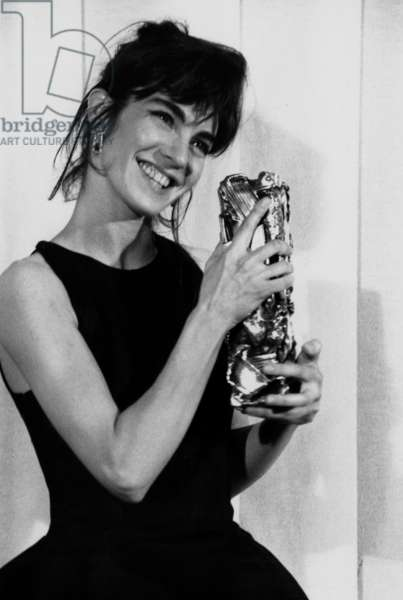 French Actress Anne Parillaud With her Cesar (French Movie Prize) For Best Actress on March 6, 1991 (b/w photo)