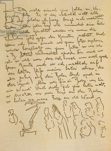 Manuscript by Franz Kafka (1883-1924) illustrated by himself, c 1910