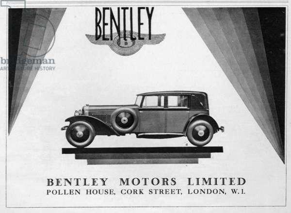 Bentley Magazine Advert, 1928 (litho)