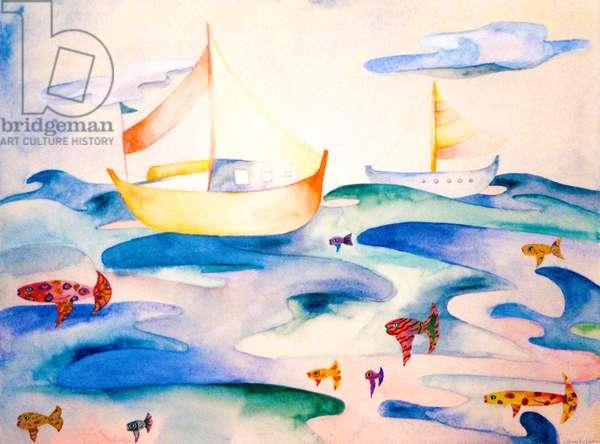 Ocean Puzzle, 1993, (watercolor)