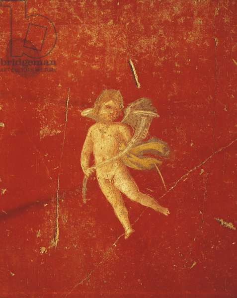 Cherub in red Pompeian background, fresco in Fourth Pompeian Style, from House of Pinario Ceriale, Pompeii , Campania, Roman Civilization, 1st Century