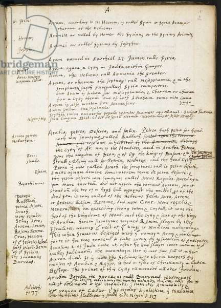 MS 57555, f.2r, from a notebook comprising an historical gazetteer, library-lists, etc.; c.1606-08 (w/c on paper)