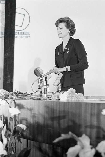 Valentina Tereshkova at a plenary meeting of the Soviet Women's Committee in the October Hall of the House of Unions, 2nd July 1968 (b/w photo)