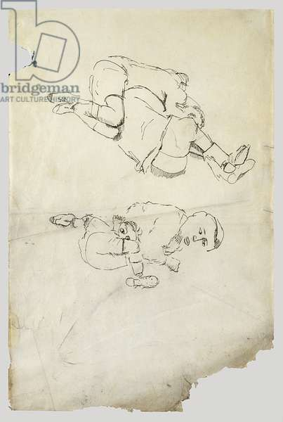 Two Boys Lying Down, 1941 (pen & ink on paper)