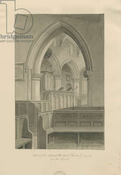 Lichfield - Interior of St. Michael's Church: sepia drawing, 1841 (drawing)