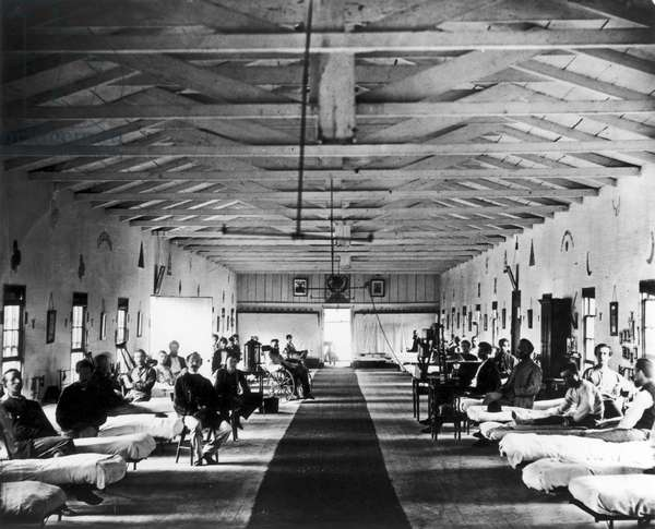 CIVIL WAR: HOSPITAL, 1865 Patients in ward K of Armory Square Hospital, Washington, D.C., during the American Civil War, 1865.
