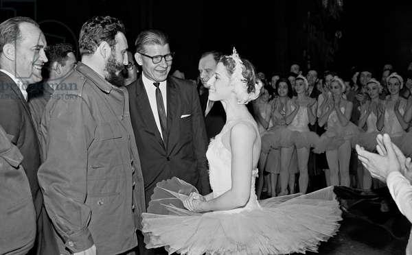 Fidel Castro Talks To Soviet Ballet Dancer Maya Plisetskaya