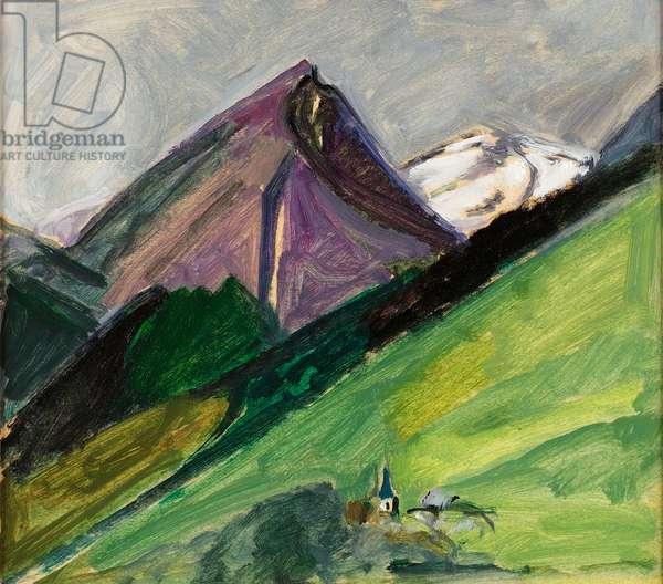 Eglise de montagne, c.1925, (oil on paper)