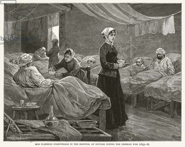 Miss Florence Nightingale in the Hospital at Scutari during the Crimean War (1855--6) (engraving)
