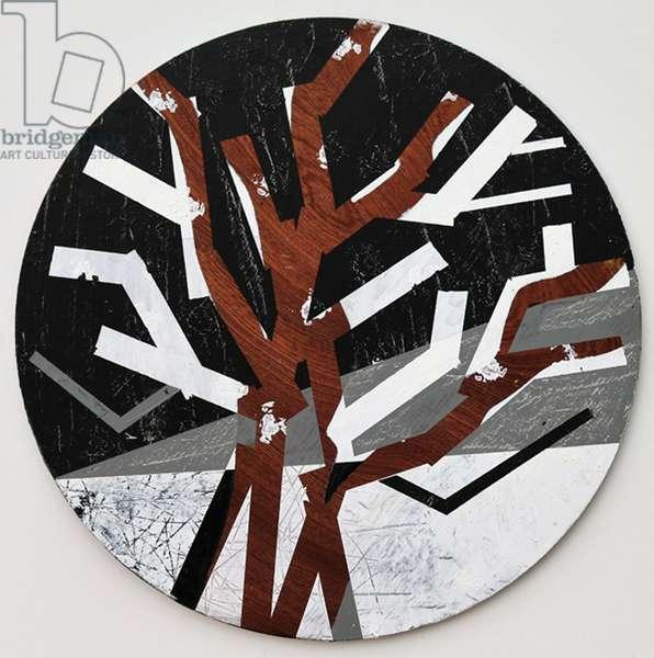 Twixt Heaven & Earth X-B (acrylic on circular board)