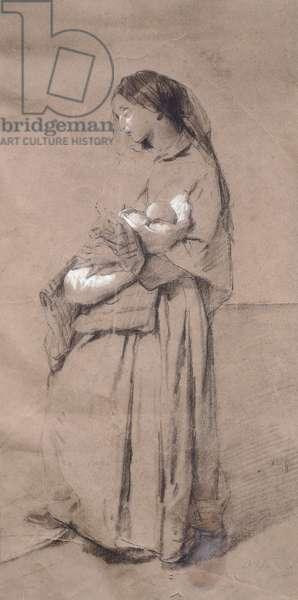 Mother forsaken, by Domenico Induno, pencil on paper
