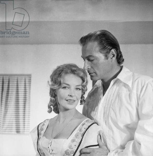 """Odile Versois and Lex Barker on set of film """"Le tresor des hommes bleus"""", Paris, August 30, 1960 (b/w photo)"""