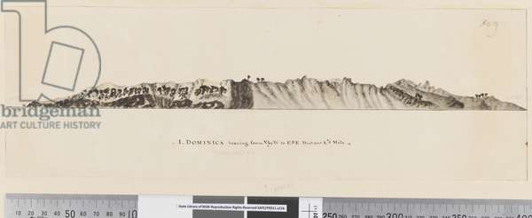 Page 25a/c 1. Dominica bearing from N by W to ESE distant 1 1/2 miles, 1768-75 (pen & ink and wash)