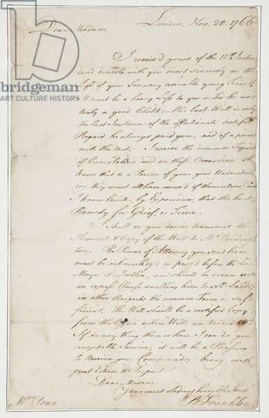 Autograph letter to Mrs. Ann Penn, London, 20th November 1766 (pen & ink on paper)