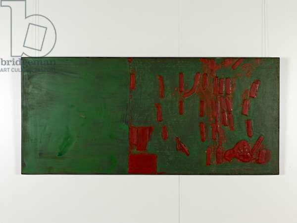 The Dynasty of Colours: Red Mountains, Green Water, 2009 (oil, lacquer & jute on wood)