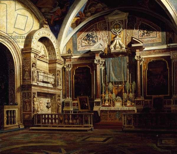 Interior of San Domenico Maggiore, by Raffaele Armando Califano Mundo (1857-1930), oil on canvas, 50x70 cm.