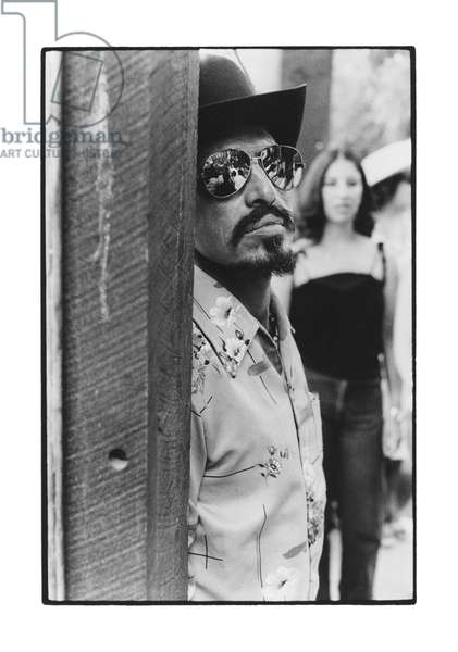 Man wearing sunglasses, Taos, New Mexico, 1985 (b/w photo)
